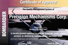 Bombardier Cert. Of Approval